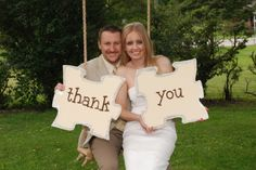 Bridal couple expressing thank you with puzzle pieces. See more chocolate puzzle wedding favors and party ideas at www. Chocolate Wedding Favors, Unique Wedding Favors, Wedding Decorations, Wedding Pics, Our Wedding, Dream Wedding, Trendy Wedding, Wedding Dresses, Puzzle Party
