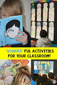 """Wonder activities for your classroom that are """"wonder"""" ful and effective with your Wonder novel studies or just the overall message that we are all wonders! Wonder Novel, Wonder Art, Wonder Book, Kindness Activities, Classroom Activities, Book Activities, Classroom Ideas, Classroom Organization, Wonder Bulletin Board"""