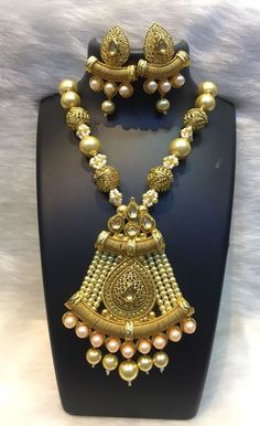 Indian Bollywood Pearl Kundan Ethnic Necklace and Earrings Set Fashion Jewelry #Unbranded #Bib