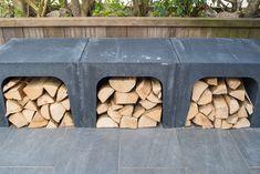 Met deze prachtige U-elementen kunt u veel dingen doen. U kunt ze gebruiken als open opslag, maar u kunt deze multifunctionele muurelementen net zo goed gebruiken als tuinbank. U Element Beton, Firewood, Outdoor Living, Texture, Garden, Crafts, Google, Pizza, Fireplace Logs