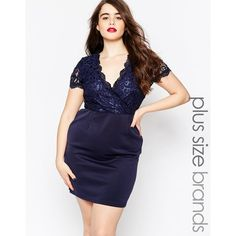 Club L Plus Size Bodycon Dress with Scallop Lace Top.