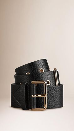 Burberry Black Double Buckle Grainy Leather Belt - Distinctive grainy leather belt with adjustable double buckle closure.  Polished metal eyelet detail.  Discover more accessories at Burberry.com
