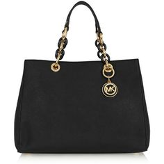 MICHAEL Michael Kors Cynthia medium textured-leather tote ($305) ❤ liked on Polyvore featuring bags, handbags, tote bags, totes, black, michael michael kors handbags, handbags totes, tote purses, michael michael kors tote and tote hand bags