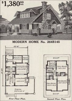 Modern Home No. 1916 Sears Roebuck Modern Homes Craftsman Style Bungalow, Craftsman Bungalows, Craftsman House Plans, The Plan, How To Plan, Br House, Maids Room, Vintage House Plans, Kit Homes