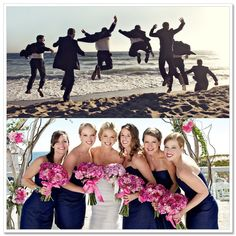 Love the navy blue bridesmaid dress and hot pink bouquets.