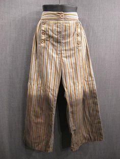 Breeches, Men's. 18th C Distressed tan/blue stripe cotton.