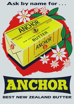 Vintage Retro Poster Anchor Butter Advert re-print Wall Art in various sizes Vintage Advertising Posters, Vintage Advertisements, Vintage Posters, Retro Posters, Vintage Labels, Vintage Ads, Vintage Food, Vintage Signs, New Zealand Food