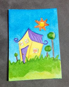 Original watercolor ACEO of a Whimsical House