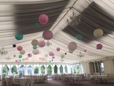 Set of 40 paper lanterns in cream, lavender,soft pink and teal old time favourite by the brides