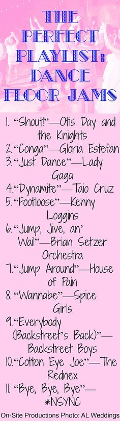 I love these songs to get my guests out on the dance floor!  Some of these I would have never thought of!
