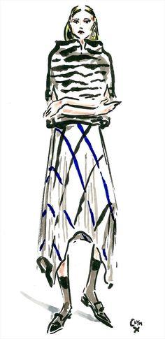 Céline Fall 2014 – Printed silk dress; black & white mink fur intarsia shrug; navy & khaki kidskin pointy loafer