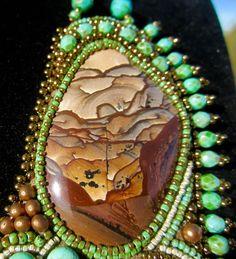 "Biggs Jasper in ""Borrego"", bead embroidery by Sandra Lee."