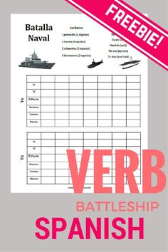 Battleship Verbs is my FAVORITE game for practicing conjugations. This freebie includes a ready-to-go version with regular verbs, irregular preterits, and blank versions both with and without vosotros. My students beg for this game! Spanish Verb Conjugation, Preterite Spanish, Teaching Verbs, Teaching Spanish, Spanish Teacher, Teaching French, Spanish Games, Spanish Activities, Spanish Worksheets