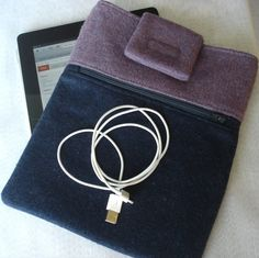 iPad Case with Outside Zippered Pocket Purple and by SewFreshAgain