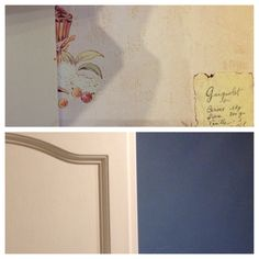 Before and after Cupboards Farrow and Ball Wimborne White Estate Eggshell Wall Dulux Stonewashed Blue Kitchen emulsion. This is the feature wall colour on one wall only