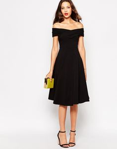 ASOS TALL Skater Dress with Bardot Neckline