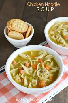 Chicken Noodle Soup - easy broth soup filled with chicken, noodles, and vegetables. Perfect for chilly winter day!