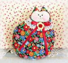 Cat Pillow Doll Cloth Doll 7 inch Cat Black with by CharlotteStyle
