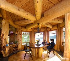 Dining with a view Pioneer Log Homes