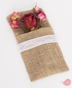 burlap and lace cutlery bag