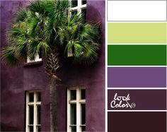 Жаркий колорит: Зеленый и баклажановый цвет естественно привлекательное сочетание, увеличивая яркость которого, мы усиливаем впечатление от него. Совмещаем ярко-белый цвет, светло зеленый цвет и цвет зелени (теплый зеленый цвет), цвет чароит, баклажанный и темно-баклажанный цвет.