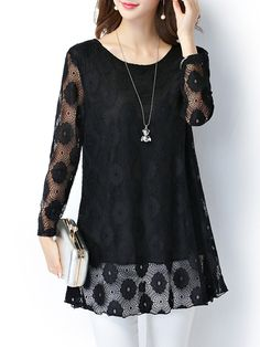 Buy Round Neck Lace Hollow Out Plain Blouse online with cheap prices and discover fashion Blouses at Fashionmia.com.