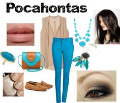 """Pocahontas inspired outfit"" by trinityjilliana ❤brown and beiges with hint of aqua"