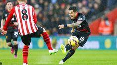 Countinho shoots and scores vs southampton 2015