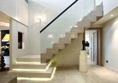 14 Incredible Indoor Staircase Lighting Ideas For Beautiful Your Home Stairs Design Modern Beautiful home Ideas Incredible Indoor Lighting staircase Home Stairs Design, Interior Stairs, Home Interior Design, House Design, Stair Design, Staircase Lighting Ideas, Stairway Lighting, Staircase Glass, Railing Ideas