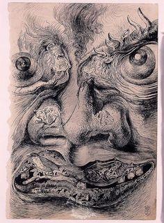 """Ilustración para la primera edición de """"The Secret Life of Salvador Dalí""""- 1939/41 - Tinta sobre papel"""