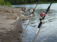 Kayak Accessories Homemade Bank Station Sand Spike - Surf Spike - Bank Fishing Rod Holder - The Bank Station is an adjustable depth surf spike/sand spike that will allow you to fish from any bank conditions for any species of fish. Best Fishing Lures, Fishing Life, Bass Fishing, Fishing Boats, Fishing Stuff, Bank Fishing Rod Holders, Kayak Accessories, Kayak Adventures, Fishing Equipment