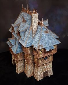 Noble Townhouse from world acclaimed scenery makers Tabletop World. Sold as seen on the picture, painted to high standard. Inside has been painted to a basic standard. Minecraft Medieval, Minecraft Houses, Minecraft Ideas, Model Castle, Banana Art, Female Armor, Medieval Houses, Fantasy City, Wargaming Terrain