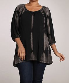 Another great find on #zulily! Urban X Black Maho Mineral Wash Peasant Top - Plus by Urban X #zulilyfinds