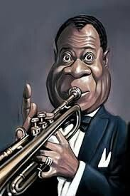 Louis Armstrong by Marco Calcinaro Funny Caricatures, Celebrity Caricatures, Celebrity Drawings, Cartoon Faces, Funny Faces, Cartoon Art, Louis Armstrong, Music Pics, Art Music