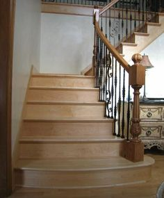 Flared Staircase   Section Staircase w Scroll Spindles & Custom Newels