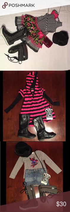 🎀Different Brand Girl Clothes Szs (4;5;5/6;6)🎀 🎀Pic#1: Shiny Multicolor Dress with Stripes & Flowers IRIS & IVY from Nordstrom Sz (4T). 🎀Pic#2: Hoodie Striped Bell Dress Pink & Black PUMPKING PATCH from Nordstrom Sz(6). 🎀Pic#3: Grey long sleeves Shirt from Zara Kids Sz (5-6) & Mini Skirt GAP Sz (5). 🎀Pic#4: Striped Black & Gray Dress with different colored Circles decorations ME & KO from Nordstrom Sz (5). 🎀SHOES & ACCESSORIES ARE NOT INCLUDED!!! 🎀Everything is in Great…