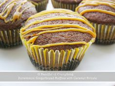 A Handful of Everything: Persimmon Gingerbread Muffins with Caramel Drizzle...