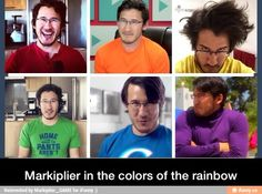 Markiplier in the colors of the rainbow