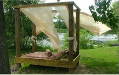 Outdoor Canopy Bed - purchase or build your own backyard oasis