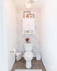 Toilet Room Makeover Reveal and Clever Bathroom Storage in the water closet- sma. Toilet Room Makeover Reveal and Clever Bathroom Storage in the water closet- small space bathroom decorating ideas for powder rooms, too! Toilet Room Decor, Small Toilet Room, Small Space Bathroom, Small Toilet Decor, Small Bathroom Decorating, Small Toilet Design, Toilet Decoration, Small Closet Space, Small Closets