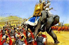 The Battle of Zama, 202 BC (Romans vs. Carthaginians).