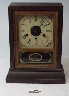 Brilliant Antique Gilbert Manf'g Winsted Conn. Wood Reverse Painted Mantle Clock