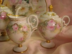 Gorgeous Limoges French Roses Tea Service ~ Tea Pot Creamer Sugar ~ Hand Painted Pink Roses ~ Outstanding Victorian Heirloom Treasure ~ Rais...