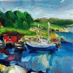 Little Fishing Stage - Irene Duma. original oil painting of a little fishing stage round the bay. Canadian Painters, Canadian Artists, Mini Paintings, Seascape Paintings, Affordable Art, Beautiful Artwork, Tapestries, Art For Sale, Wrapped Canvas