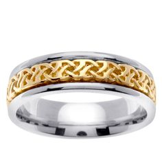 14k Two-tone Gold Celtic Woven Design Men's Wedding Band (Size 4.5) (solid)