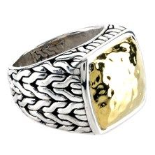John Hardy Hammered Ring in Sterling Silver and 22KT Yellow Gold $495