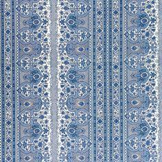 Digby's Tent linen & cotton print, Moroccan blue, Brunschwig & Fils