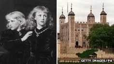 Victorian painting of the Princes in the Tower and the Tower of London