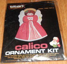"""Vintage 1983 Titan Needlecraft Christmas Kit #241 Calico Angel Tree Topper 9"""" #Titan"""