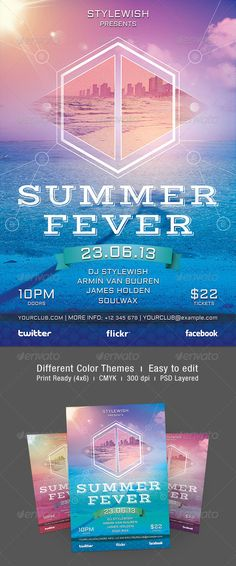 Buy Summer Fever Flyer by styleWish on GraphicRiver. Summer Fever Flyer Template This flyer template is designed to announce a wide range of summertime events: a refresh. Armin Van Buuren, Travel Brochure, Club Parties, Beach Party, Color Themes, Flyer Template, Ibiza, Different Colors, Summertime